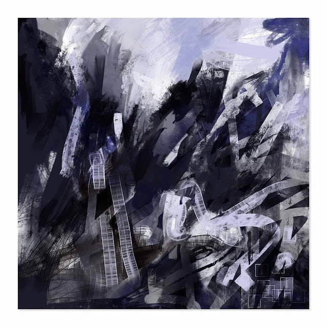 a large square abstract digital painting that is monochrome with hints blues