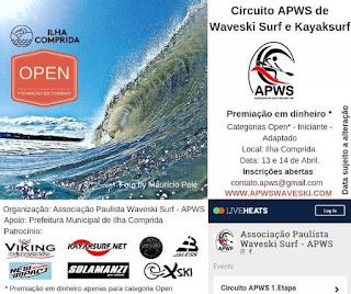 Ilha Comprida sedia Circuito APWS de Waveski e Kayaksurf na praia do Araçá