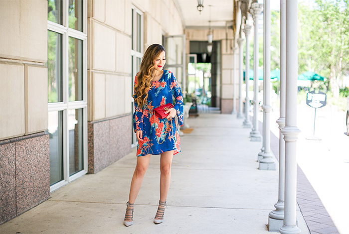 Tolani belle dress, bell sleeve floral dress, baublebar earrings, gucci bag, aquazzura lace up heels, pool party, rsthecon outfit, spring outfit, san francisco fashion blog