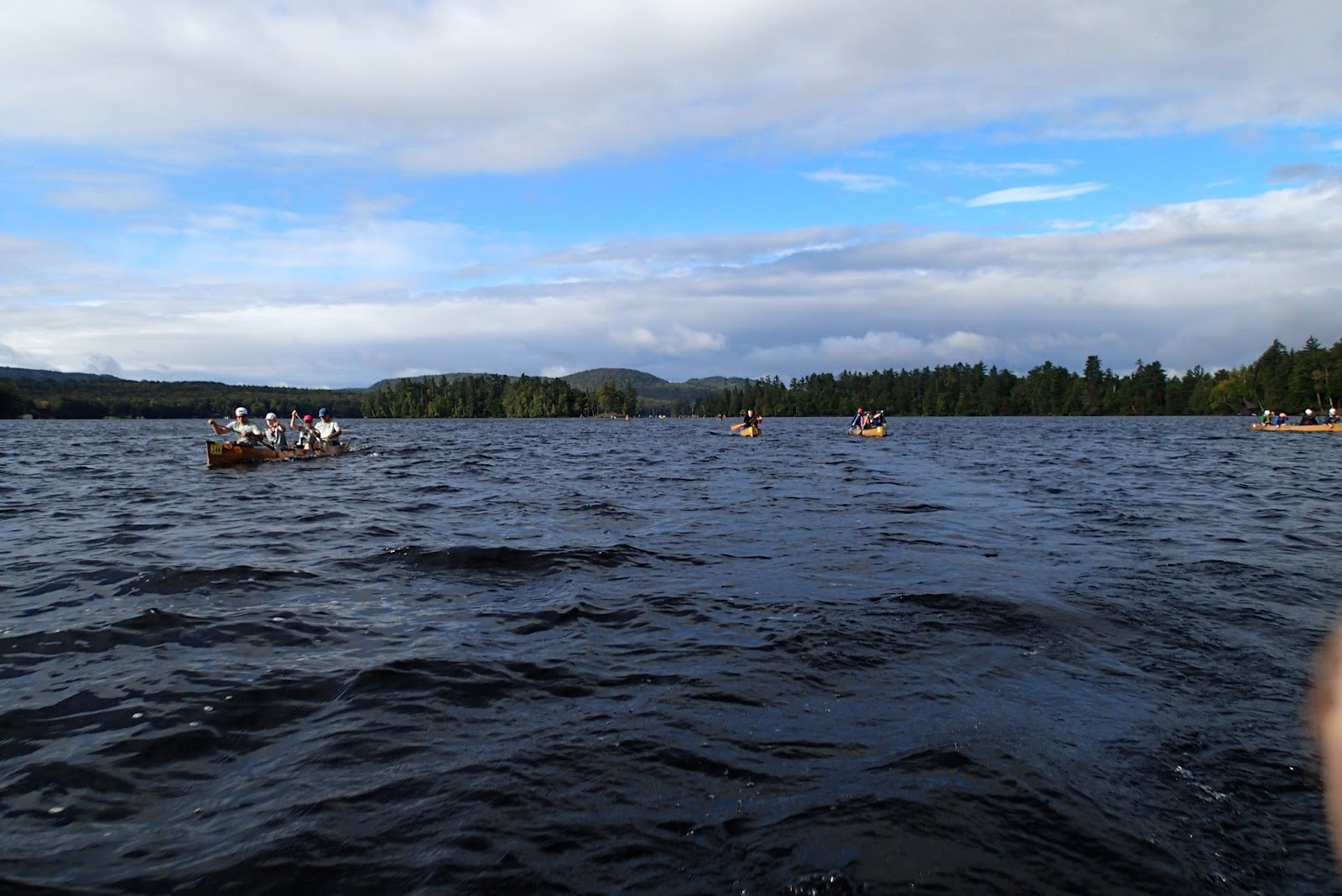 the first segment of the race crosses several small lakes connected by well marked channels at the end of fifth lake we encountered our first portage at