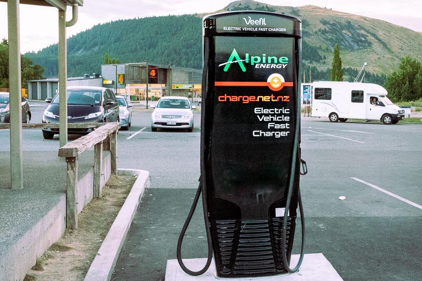 Electric vehicle charging station, Lake Tekapo, New Zealand.