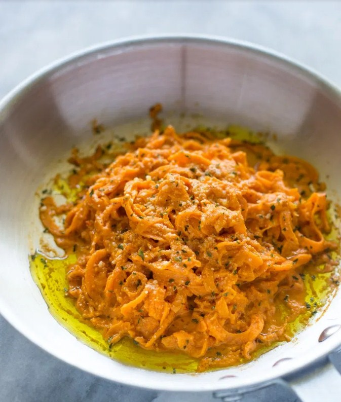 Spiralized Sweet Potato Pasta with Roasted Garlic Red Pepper Cream Sauce
