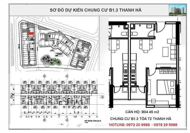 Sơ đồ mặt bằng căn hộ B04 tòa T2 chung cư B1.3 Thanh Hà