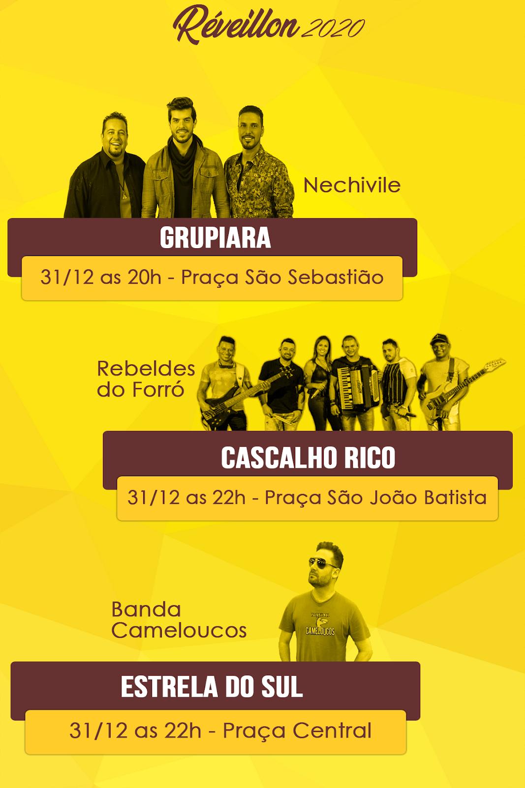 Réveillon 2020: Grupiara, Cascalho Rico e Estrela do Sul