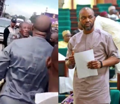 """House of Reps member, Obinna Chidoka, clashes with police officers who allegedly brutalized a man for """"splashing water on their driver"""" in Anambra (video)"""