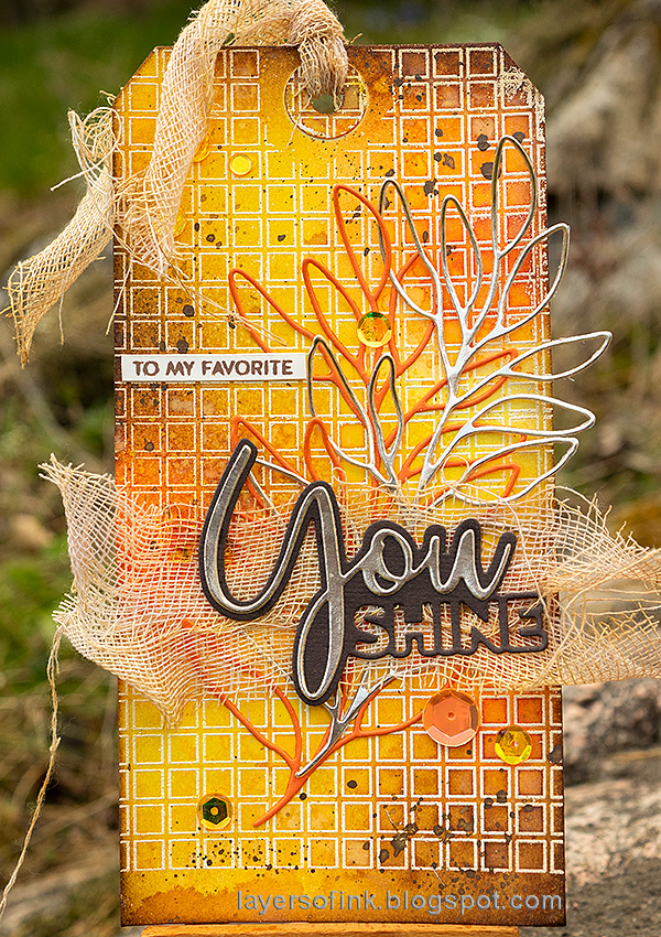 Layers of ink - Simon Says Stamp Born To Sparkle Blog Hop Open Grid Tag Tutorial by Anna-Karin Evaldsson.