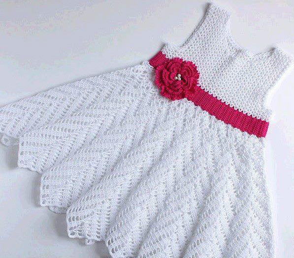 Beautiful model of crochet dress for babies