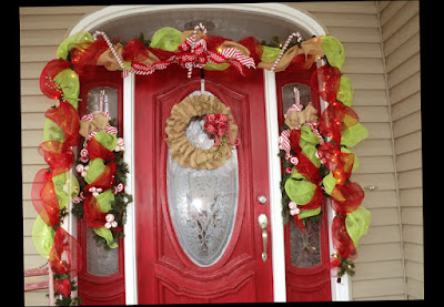 Red Color Door Rustic Christmas Front Door Decorations Elegan Photo 2016