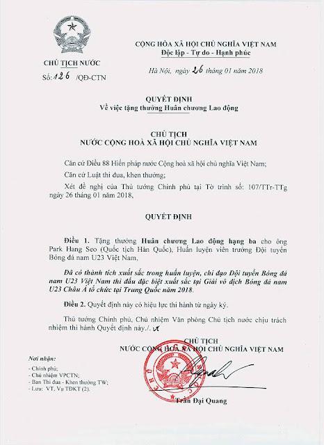 Chủ tịch nước tặng thưởng Huân chương Lao động hạng Nhất cho U23 Việt Nam