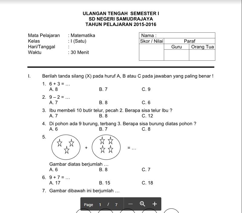 Soal UTS SD Semester 1 Kelas 1, 2, 3, 4, 5, dan 6 KTSP Terbaru