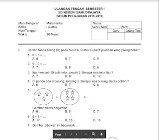 Soal UTS SD Semester 1 Kelas 1, 2, 3, 4, 5, dan 6