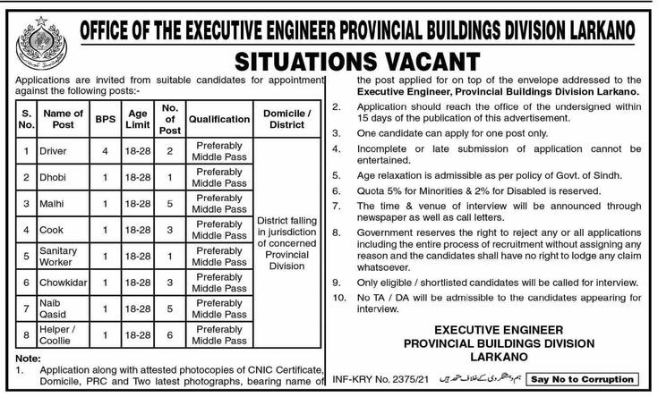 Office Of The Executive Engineer Provincial Buildings Division Jobs Larkana Sindh 2021
