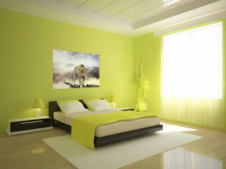 dormitorio color verde crema