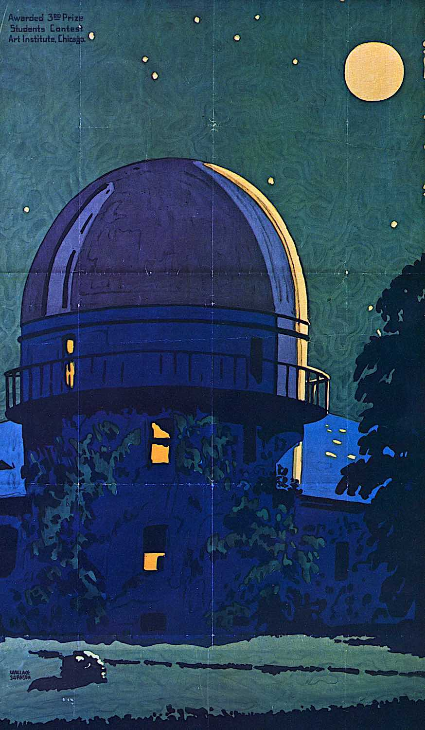 a Wallace Swanson illustration 1925, an observatory building at night