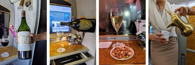Emirates First Class Menu including Dom Perignon Champagne