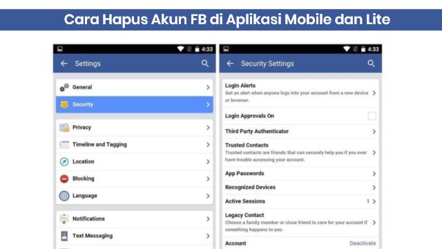 cara hapus akun facebook di aplikasi mobile dan lite