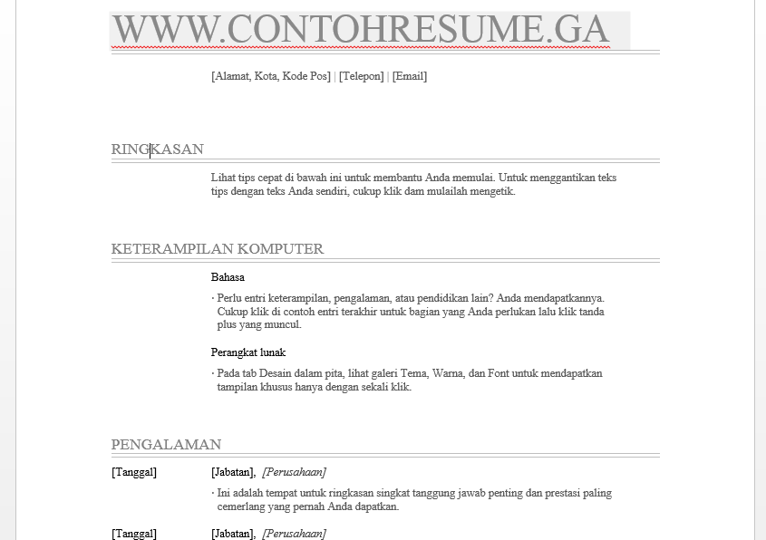cara buat resume microsoft word