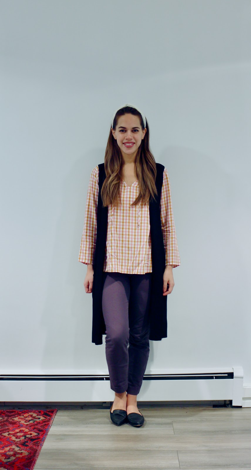 Jules in Flats - Old Navy Plaid Top with Knit Duster Vest (Business Casual Fall Workwear on a Budget)