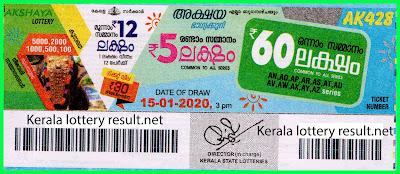 Kerala Lottery Result 15-01-2020 Akshaya AK-428 (keralalotteryresult.net)