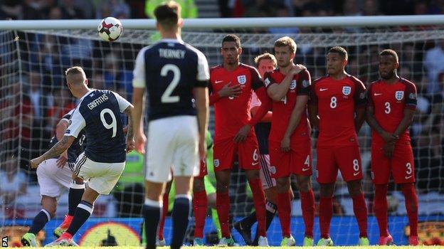 Leigh Griffiths marca uno de los goles con los que Escocia se quedó a un paso de derrotar a Inglaterra en la Eliminatoria Rusia 2018
