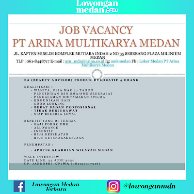Lowongan Kerja Medan Juni 2020 di PT Arina Multikarya Medan Sebagai Beauty Advisor