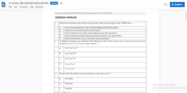 Contoh Soal Ujian MA Aqidah Akhlak