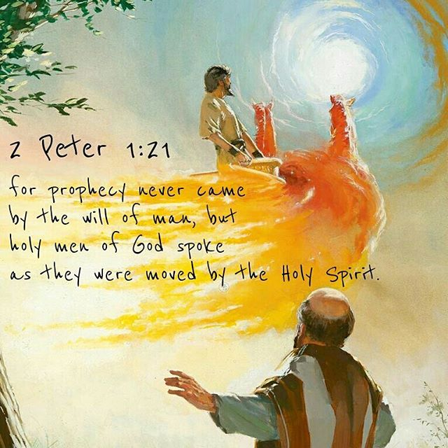 For prophecy never had its origin in the will of man, but men spoke from God as they were carried along by the Holy Spirit.