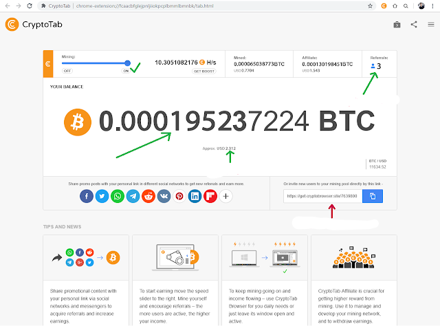 After that you will find this interface to start mining, press ON as in the image and in this image all the details are clarified and also your referral link