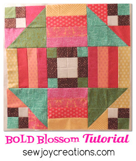 make a big bold blossom with simple patchwork pieces and this tutorial