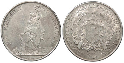 Swiss shooting Thaler - silver dollar sized coin celebrating a shooting match