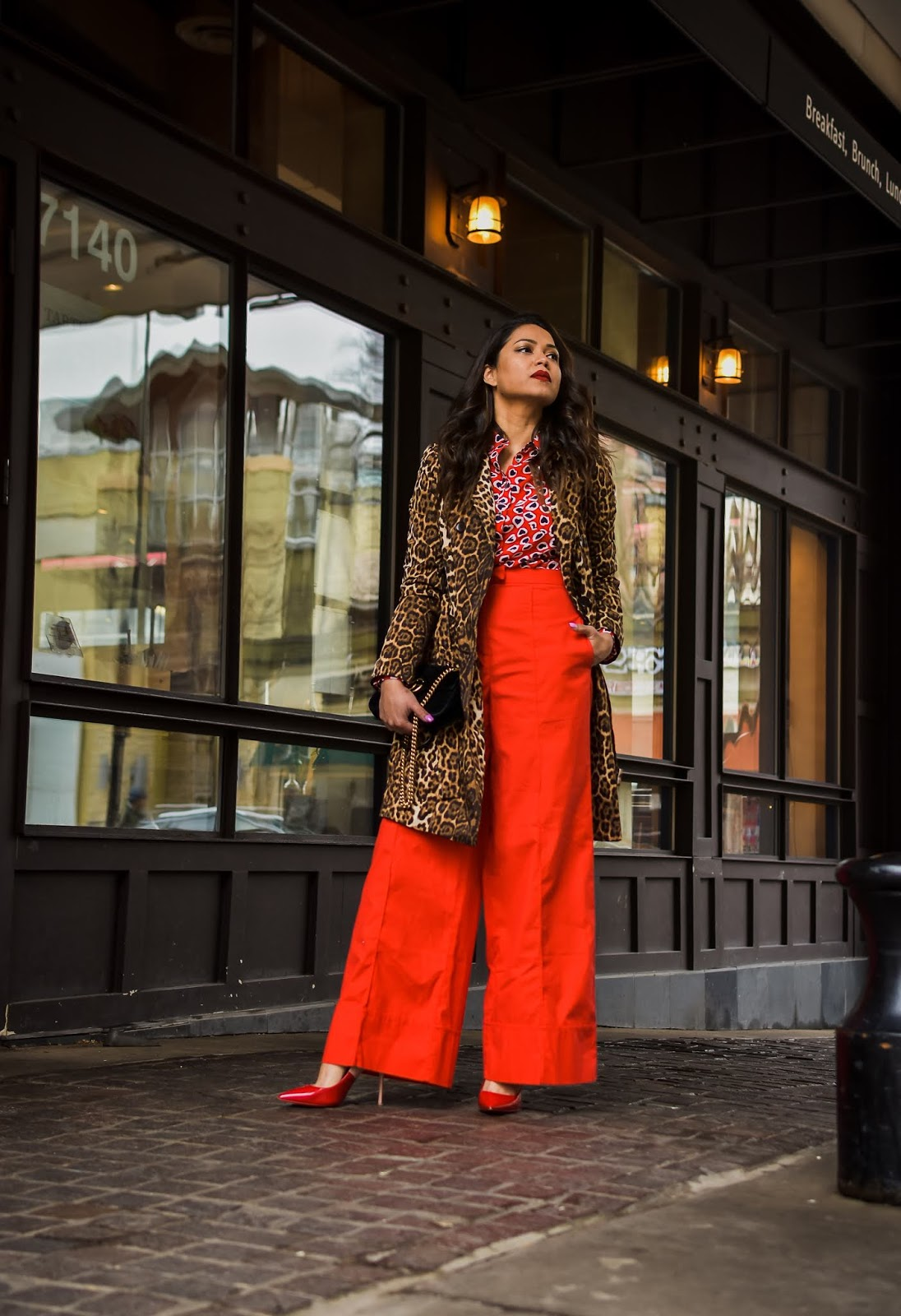 red heart shirt, red high waist trousers, print mixing, red and leopard, street style, fashion, style, dc blogger, myriad musings, fenty beayty uncensored,saumya shiohare