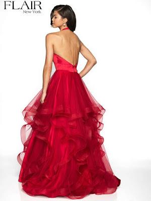 Stain Halter prom Dress Red Color Back side