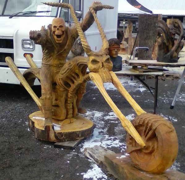 Just a car guy ghost rider chainsaw carved wood sculpture