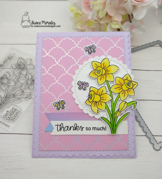 Thanks so much by Diane features Daffodils, Frames & Flags, Circle Frames, and Banner Trio by Newton's Nook Designs; #newtonsnook, #inkypaws, #springcard, #cardmaking