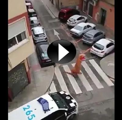 """""""إسبانيّ تنكر في زي ديناصور"""" لإلقاء القمامة... فكانت الشرطة له بالمرصاد (فيديو)"""