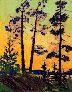 Tom Thomson painting - Pine Trees at Sunset
