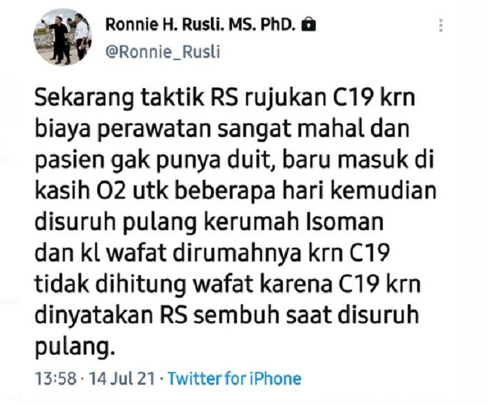 Guru Besar UI Bongkar Taktik Licik RS Layani Pasien Covid-19 yang Tak Mampu, Keterlaluan Banget