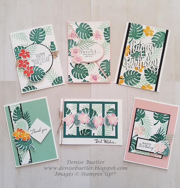 One Sheet Wonder - create 6 cards from one sheet of A4 cardstock using Tropical Chic