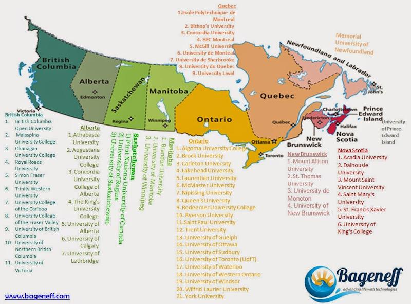 Canada College Map List of Universities in Canada (Regions based) Canada College Map