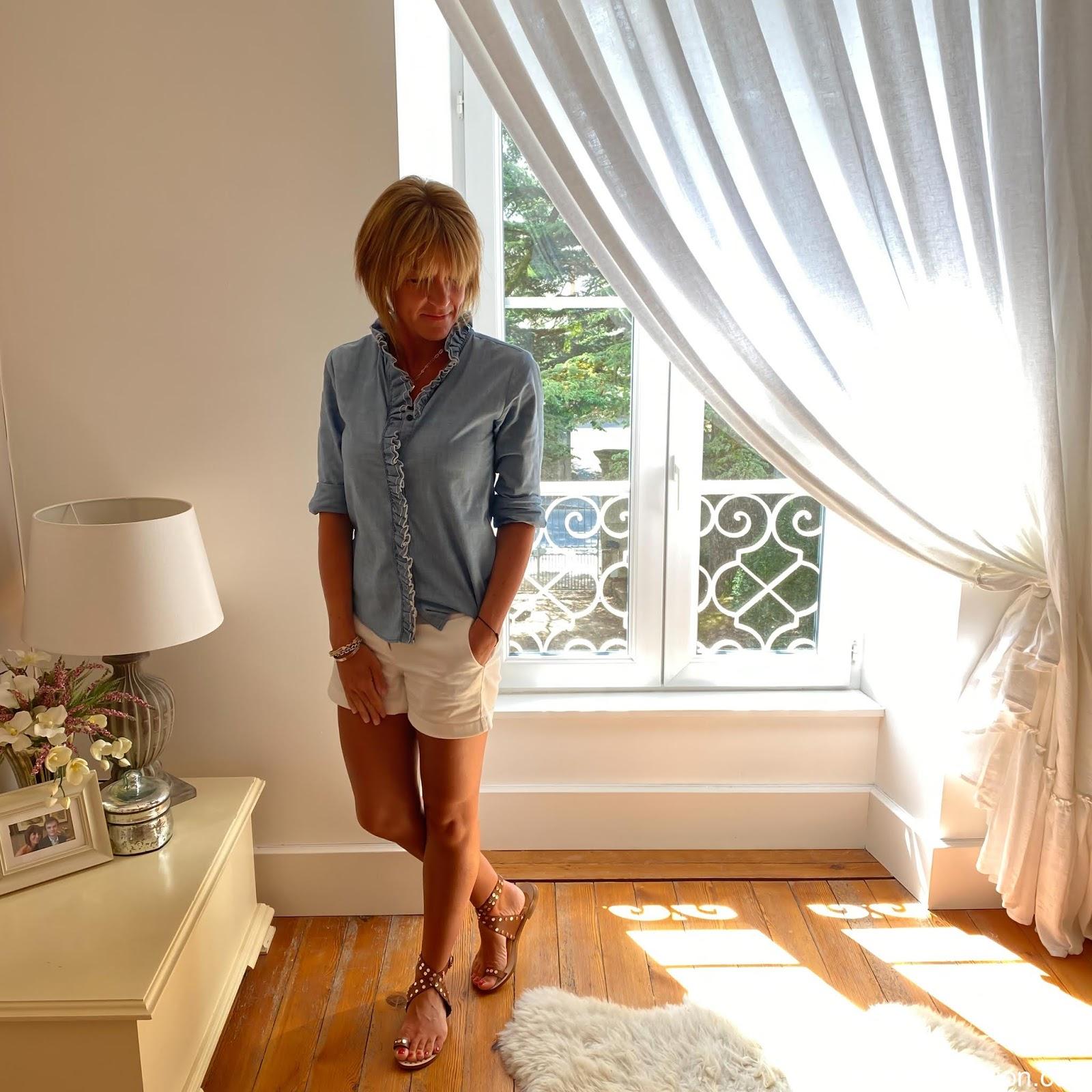 my midlife fashion, j crew 4 stretch chino short, Isabel Marant Etoile ruffle Chambray shirt, basalt studded sandals