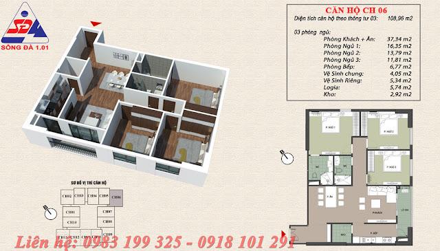 Thiết kế chung cư EcoGreen số 1 Giáp Nhị căn 06