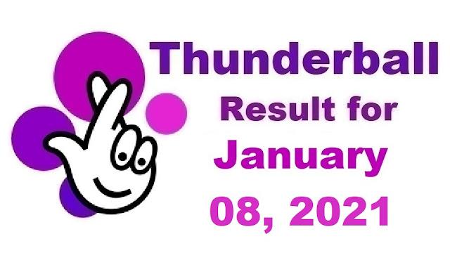 Thunderball Results for Friday, January 08, 2021