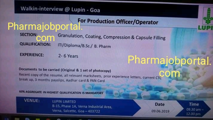 Lupin Pharmaceutical walk in interview for Production on 9th June 2019