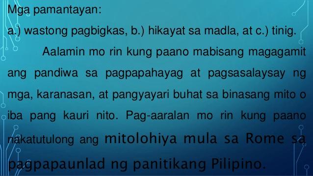 kasaysayan ng mitolohiya Talambuhay - isang anyo ng panitikan na nagsasaad ng kasaysayan ng buhay ng isang tao hango sa mga tunay na tala, pangyayari o impormasyon 10.