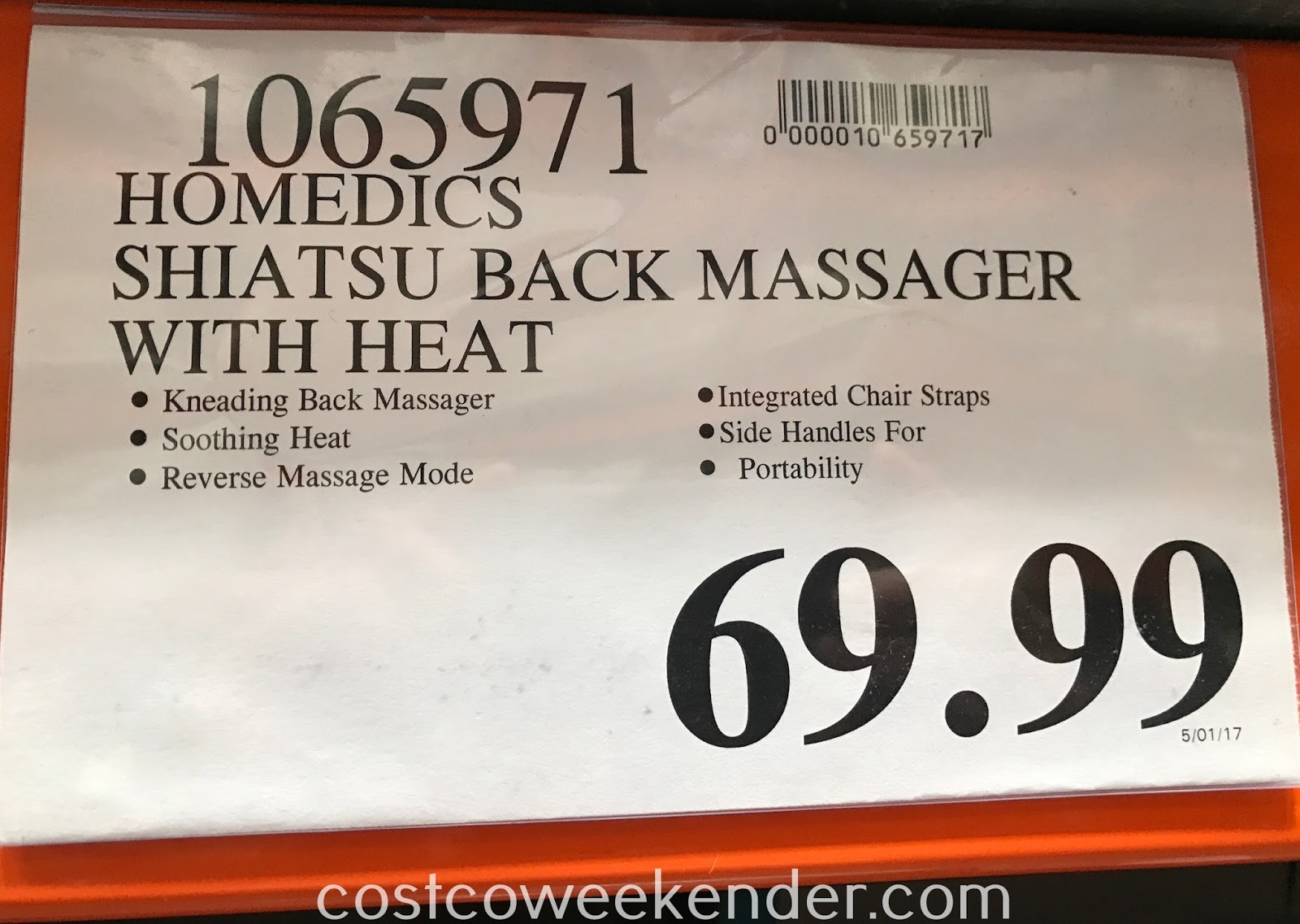 Deal for the HoMedics Shiatsu Back Massager with Heat at Costco