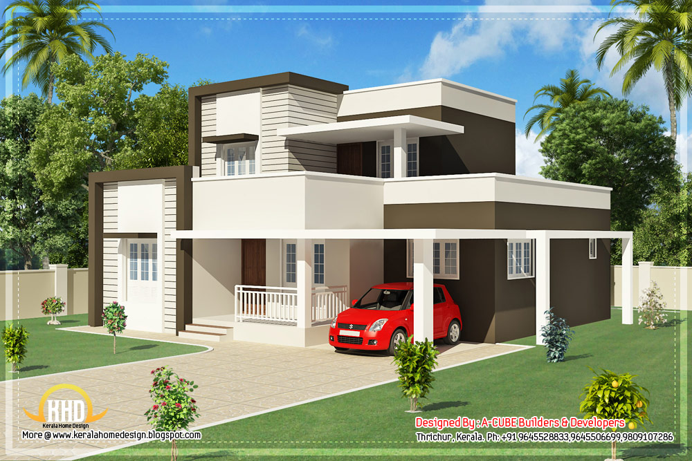 Contemporary Kerala Home Design 1800 Sq Ft Indian: modern square house
