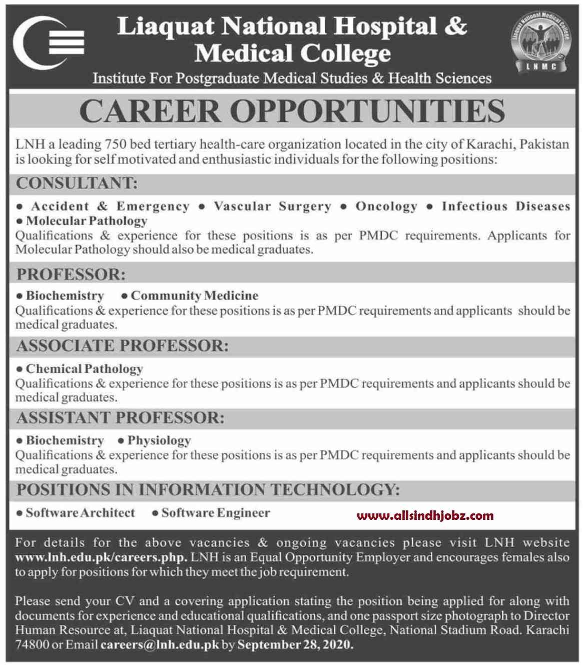 Liaquat National Hospital & Medical College Karachi Jobs 2020