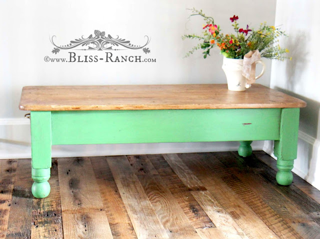 Green Wood Coffee Table With Wood Top, Bliss-Ranch.com