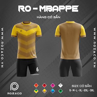 Áo Không Logo Rozaco RO-MBAPPE Màu Vàng Đồng