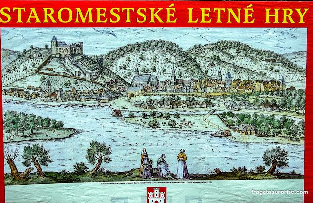 Mapa antigo de Bratislava, Eslováquia